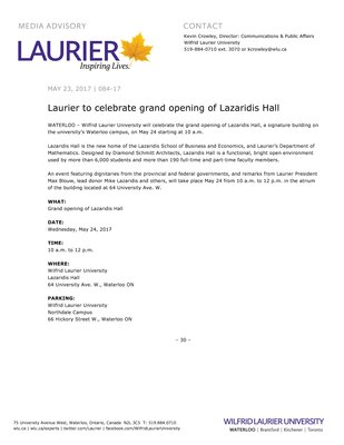 084-2017 : Laurier to celebrate grand opening of Lazaridis Hall