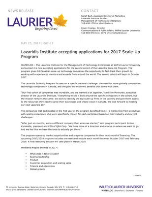087-2017 : Lazaridis Institute accepting applications for 2017 Scale-Up Program