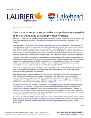 088-2017 : New national report card provides comprehensive snapshot of the sustainability of Canada's food systems