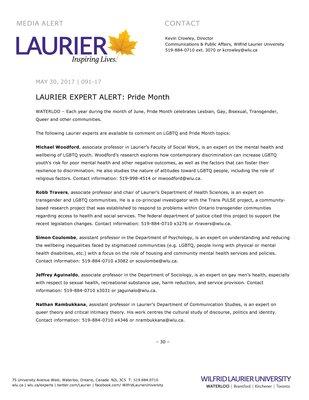 091-2017 : LAURIER EXPERT ALERT: Pride Month