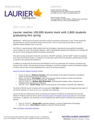 092-2017 : Laurier reaches 100,000 alumni mark with 2,800 students graduating this spring