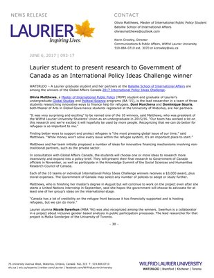 093-2017 : Laurier student to present research to Government of Canada as an International Policy Ideas Challenge winner