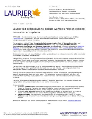 094-2017 : Laurier-led symposium to discuss women's roles in regional innovation ecosystems