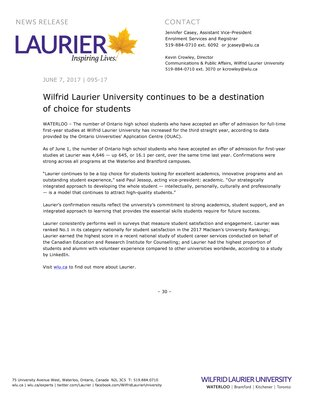 095-2017 : Wilfrid Laurier University continues to be a destination of choice for students