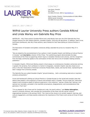 096-2017 : Wilfrid Laurier University Press authors Candida Rifkind and Linda Warley win Gabrielle Roy Prize