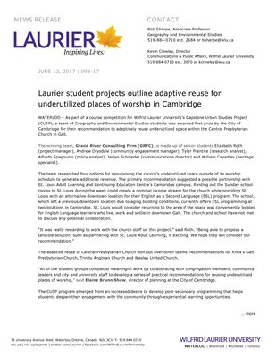 098-2017 : Laurier student projects outline adaptive reuse for underutilized places of worship in Cambridge