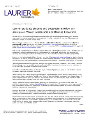 104-2017 : Laurier graduate student and postdoctoral fellow win prestigious Vanier Scholarship and Banting Fellowship
