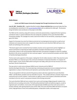 107-2017 : Laurier and YMCA Surpass Community Campaign Goal Through Commitment of Kun Family
