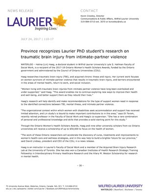 110-2017 : Province recognizes Laurier PhD student's research on traumatic brain injury from intimate-partner violence