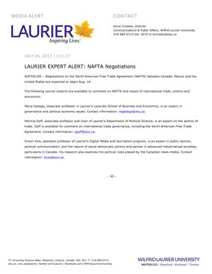 111-2017 : LAURIER EXPERT ALERT: NAFTA Negotiations
