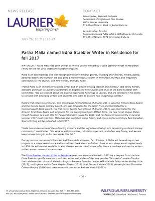 112-2017 : Pasha Malla named Edna Staebler Writer in Residence for fall 2017