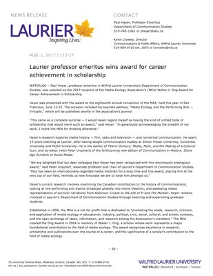 113-2017 : Laurier professor emeritus wins award for career achievement in scholarship