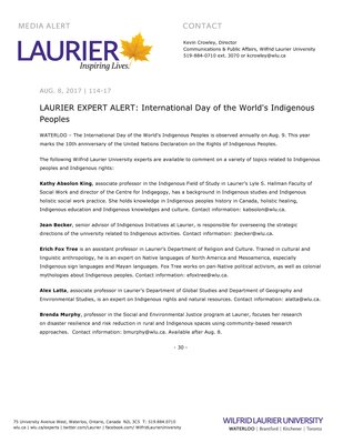 114-2017 : LAURIER EXPERT ALERT: International Day of the World's Indigenous Peoples