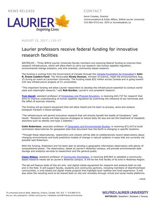 116-2017 : Laurier professors receive federal funding for innovative research facilities