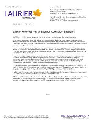 117-2017 : Laurier welcomes new Indigenous Curriculum Specialist