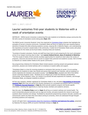 123-2017 : Laurier welcomes first-year students to Waterloo with a week of orientation events