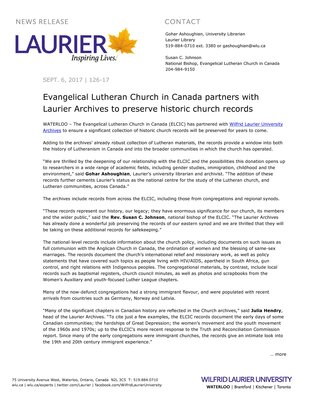 126-2017 : Evangelical Lutheran Church in Canada partners with Laurier Archives to preserve historic church records