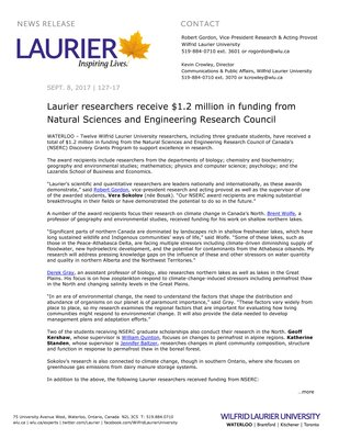 127-2017 : Laurier researchers receive $1.2 million in funding from Natural Sciences and Engineering Research Council
