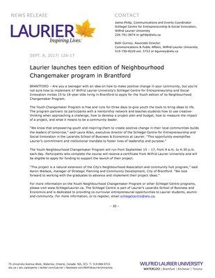 128-2017 : Laurier launches teen edition of Neighbourhood Changemaker program in Brantford