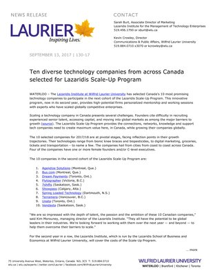 130-2017 : Ten diverse technology companies from across Canada selected for Lazaridis Scale-Up Program
