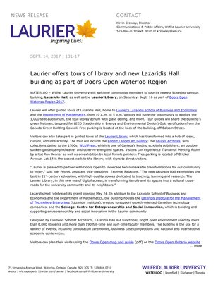 131-2017 : Laurier offers tours of library and new Lazaridis Hall building as part of Doors Open Waterloo Region