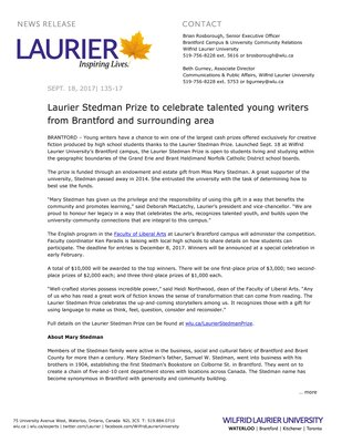 135-2017 : Laurier Stedman Prize to celebrate talented young writers from Brantford and surrounding area