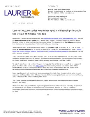 136-2017 : Laurier lecture series examines global citizenship through the vision of Nelson Mandela