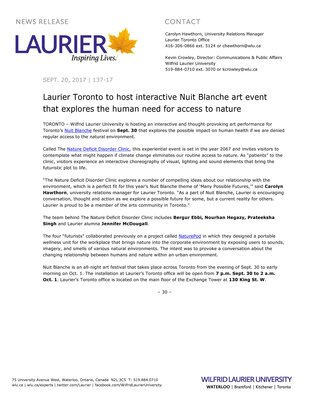 137-2017 : Laurier Toronto to host interactive Nuit Blanche art event that explores the human need for access to nature