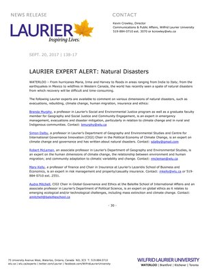 138-2017 : LAURIER EXPERT ALERT: Natural Disasters