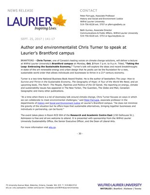 141-2017 : Author and environmentalist Chris Turner to speak at Laurier's Brantford campus