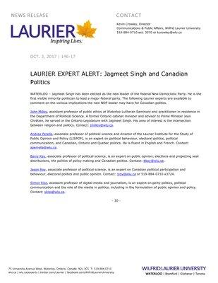 146-2017 : LAURIER EXPERT ALERT: Jagmeet Singh and Canadian Politics