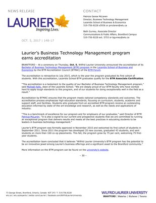 148-2017 : Laurier's Business Technology Management program earns accreditation