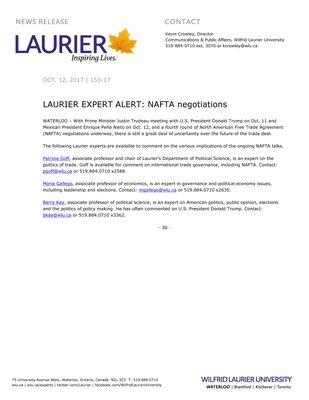 153-2017 : LAURIER EXPERT ALERT: NAFTA negotiations