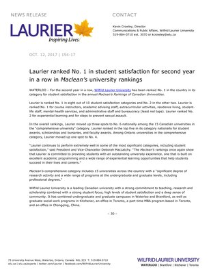 154-2017 : Laurier ranked No. 1 in student satisfaction for second year in a row in Maclean's university rankings