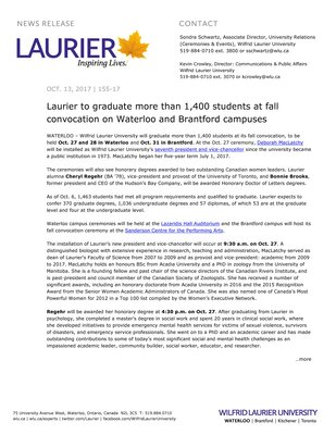 155-2017 : Laurier to graduate more than 1,400 students at fall convocation on Waterloo and Brantford campuses
