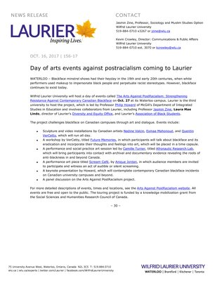 156-2017 : Day of arts events against postracialism coming to Laurier