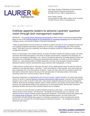 157-2017 : Institute appoints leaders to advance Lazaridis' quantum vision through tech management expertise