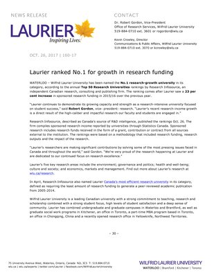 160-2017 : Laurier ranked No.1 for growth in research funding