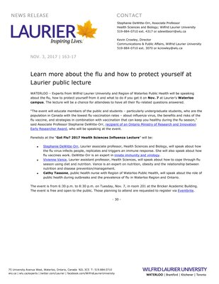 163-2017 : Learn more about the flu and how to protect yourself at Laurier public lecture