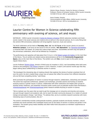 165-2017 : Laurier Centre for Women in Science celebrating fifth anniversary with evening of science, art and music