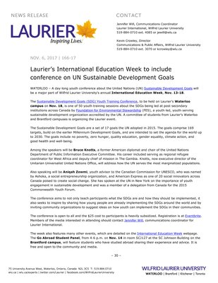 166-2017 : Laurier's International Education Week to include conference on UN Sustainable Development Goals