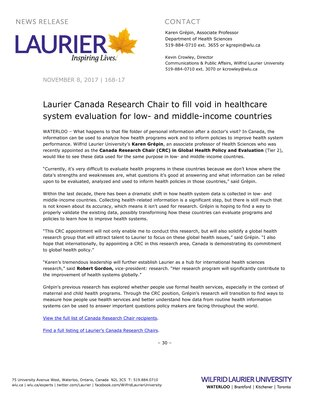 168-2017 : Laurier Canada Research Chair to fill void in healthcare system evaluation for low- and middle-income countries