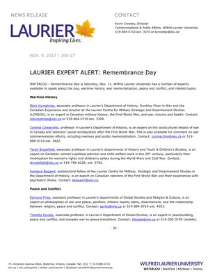 169-2017 : LAURIER EXPERT ALERT: Remembrance Day