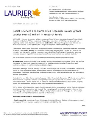 171-2017 : Social Sciences and Humanities Research Council grants Laurier over $2 million in research funds