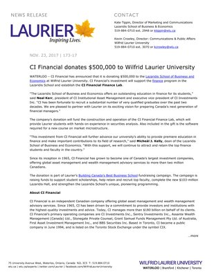 173-2017 : CI Financial donates $500,000 to Wilfrid Laurier University