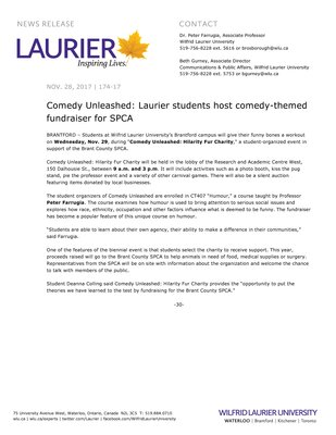 174-2017 : Comedy Unleashed: Laurier students host comedy-themed fundraiser for SPCA