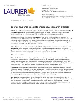 176-2017 : Laurier students celebrate Indigenous research projects