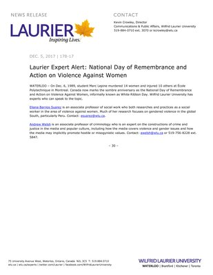 178-2017 : Laurier Expert Alert: National Day of Remembrance and Action on Violence Against Women