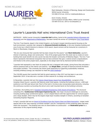 182-2017 : Laurier's Lazaridis Hall wins international Civic Trust Award