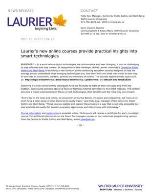 184-2017 : Laurier's new online courses provide practical insights into smart technologies